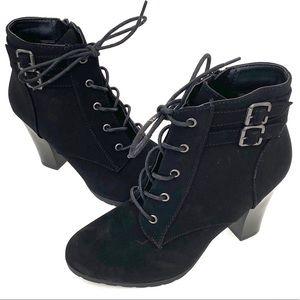 Rialto Shanaya faux suede combat boot heels NWOT